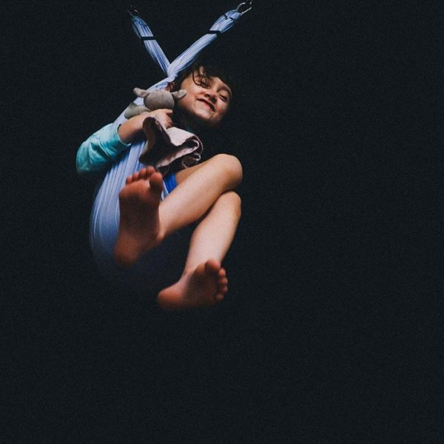 Nadia swings in the sensory room at school before headinghellip